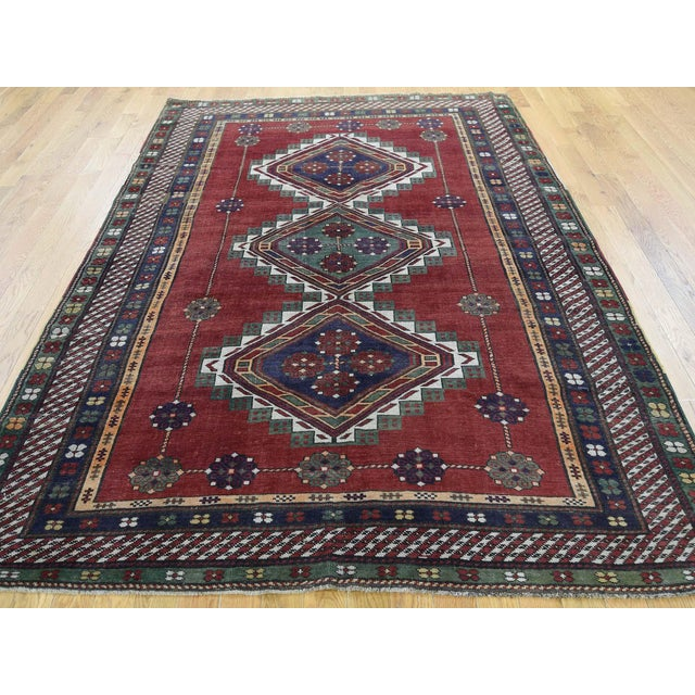 Shahbanu Rugs Antique Caucasian Kazak Hand Knotted Rug- 5′9″ × 8′5″ For Sale - Image 4 of 13