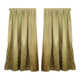 Green Silk Gold Flower Silk Drapes For Sale