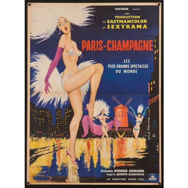 """Original first release (1962) French poster for the film """"Paris Champagne"""", a thriller set in the world of Paris..."""