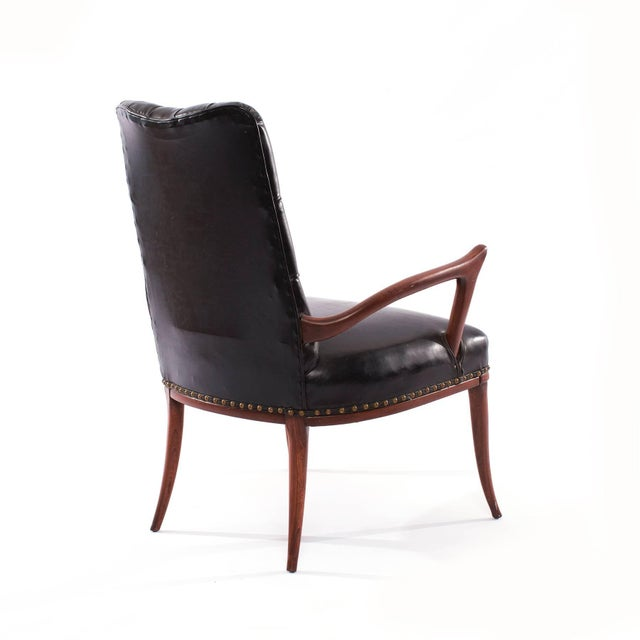 1950s 1950s Mid-Century Modern Sculptural Mahogany and Upholstered Armchair For Sale - Image 5 of 6
