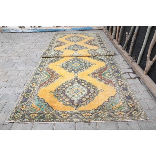Textile 1960's Vintage Turkish Hand-Knotted Wide Long Runner-4′7″ × 12′10″ For Sale - Image 7 of 11