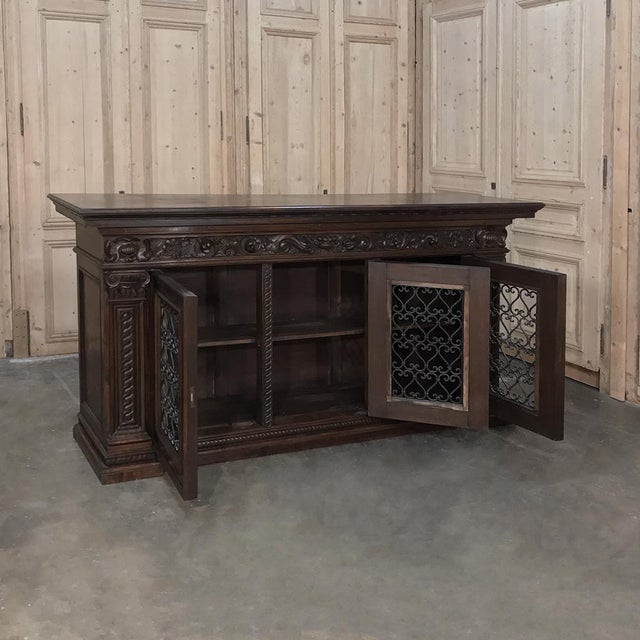 Antique Italian Walnut Renaissance Buffet/Credenza, Bookcase With Wrought Iron For Sale - Image 4 of 8