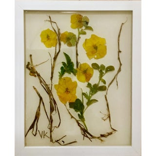 Beta #1, Flowers and Resin Collage, Pansies. Framed. For Sale