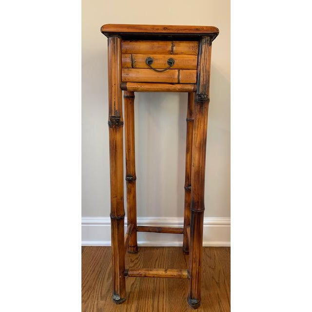 Metal Vintage Burnt Bamboo Vintage Plant Stand With Drawer For Sale - Image 7 of 7