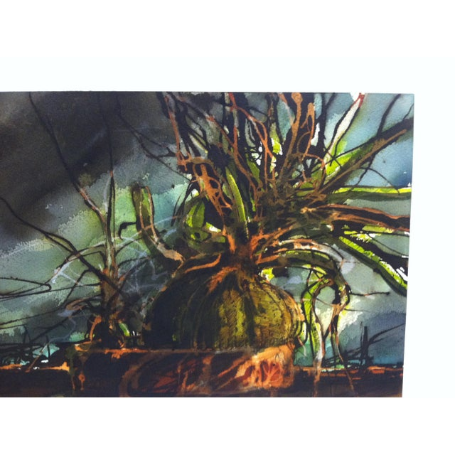 "Abstract Late 20th Century ""Exploding Plant"" Cepray Original Painting on Paper For Sale - Image 3 of 7"