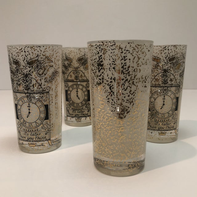"""Gold Georges Briard """"It's Later Than You Think"""" 22k Glasses - Set of Four For Sale - Image 8 of 10"""