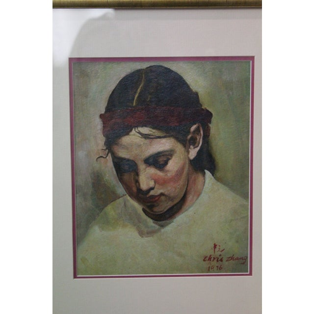 1970s Vintage Christopher Zhang Mimi With Red Ribbon Painting For Sale In New York - Image 6 of 8