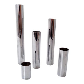 Mid Century Modern Chromed Steel Weighted Candle Holders For Sale