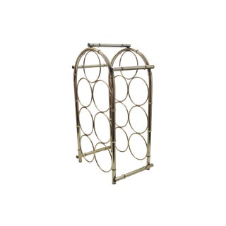 Gold Metal Faux Bamboo Wine Rack