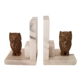 1980s Vintage Marble and Brass Owl Bookends - a Pair For Sale