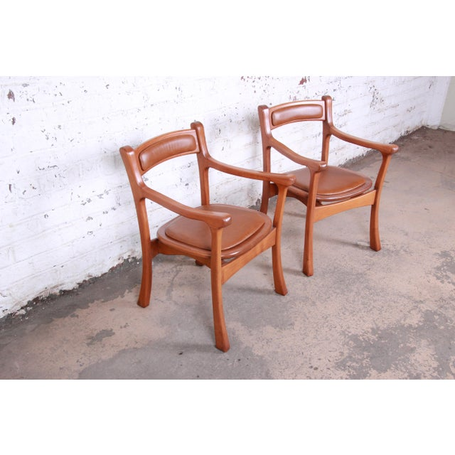 Danish Modern 1960s Sculpted Solid Teak and Leather Studio Crafted Club Chairs - a Pair For Sale - Image 3 of 13