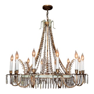 John Rosselli Scalloped Tole Metal and Crystal Chandelier For Sale