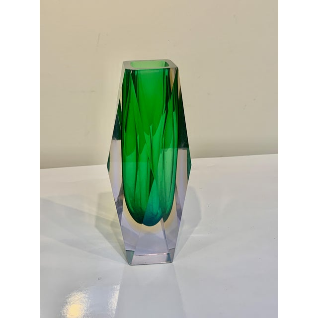 Green Mid Century Murano Green Faceted Sommerso Vase by Flavio Poli For Sale - Image 8 of 8