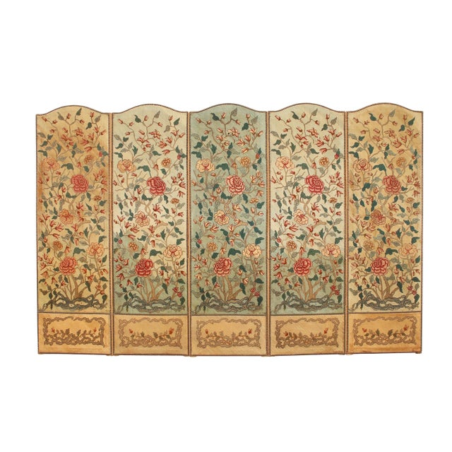 1860's English Silk Needlepoint Screen in the Manner of William Morris For Sale
