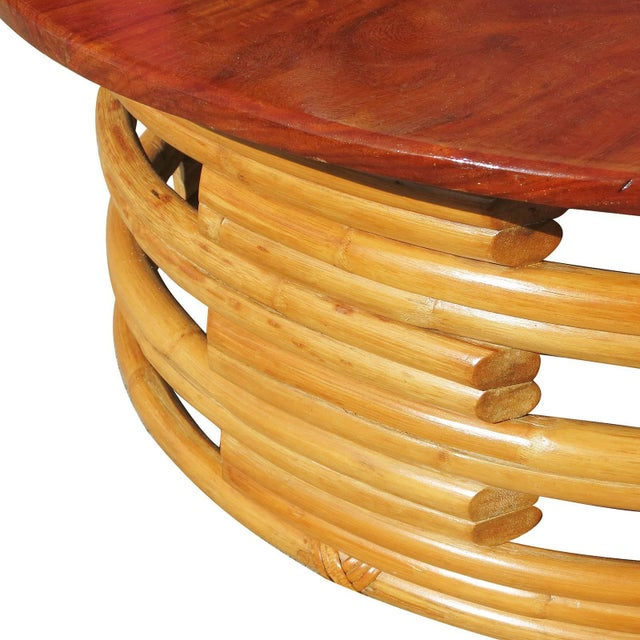 1940s Restored Round Rattan Coffee Table With Mahogany Top For Sale - Image 5 of 6