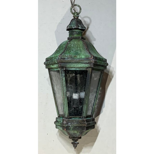 1970s Solid Brass Verdigris Hanging Lantern For Sale - Image 12 of 13