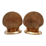 Image of Vintage Solid Brass Clam Sea Shell Bookends ~ a Pair For Sale
