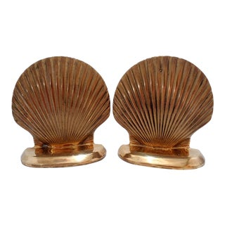 Vintage Solid Brass Clam Sea Shell Bookends ~ a Pair For Sale