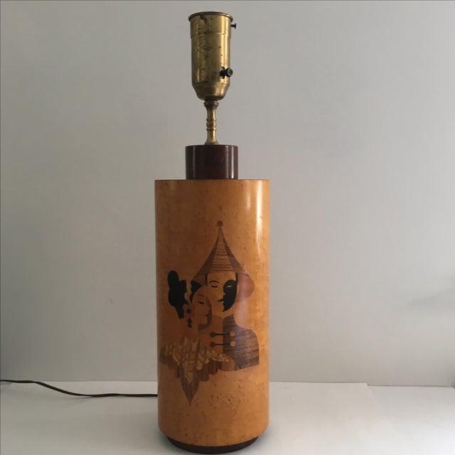 Andrew Szoeke Mid-Century Art Deco Inlaid Lamp - Image 2 of 11