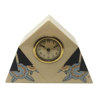 1930s Art Deco French Ceramic Table Clock For Sale