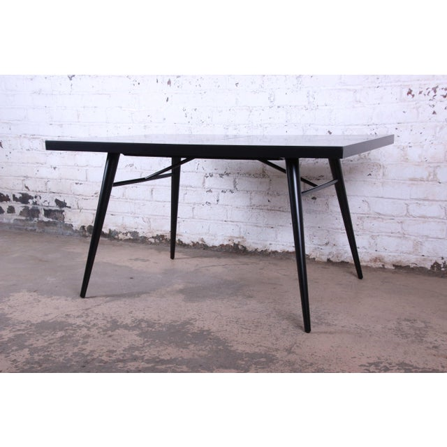 1950s Paul McCobb for Planner Group Ebonized Extension Dining Table & Chairs - Set of 6 For Sale - Image 12 of 13