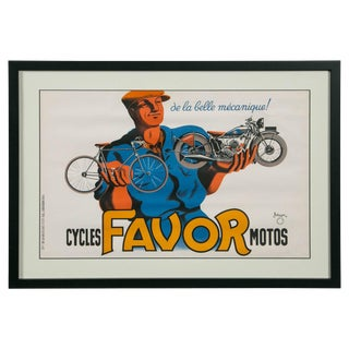 Original 'Cycles Favor Motos' Advertising Poster by Bellenger, 1937, France For Sale
