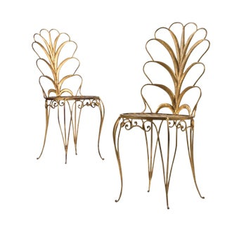 1950s French Gilded Steel Chairs - a Pair