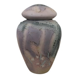 Contemporary Modern Ceramic Covered Lidded Vessel Signed Gail Markiewicz 1980s For Sale