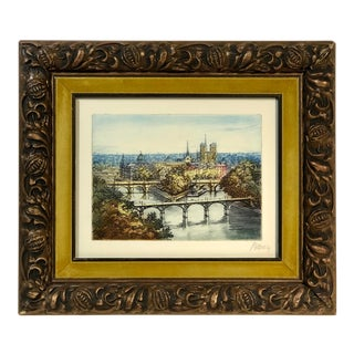 "Marcel Julien Baron Vintage Etching Hand Painted ""Notre Dame Cathedral"" Paris For Sale"