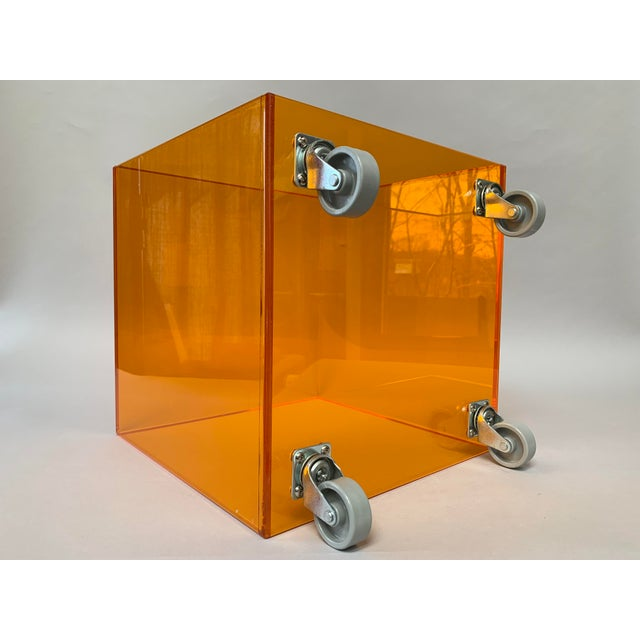 1990s Modern Translucent Orange Lucite Rolling Storage Cube/Side Table on Wheels For Sale In New York - Image 6 of 11