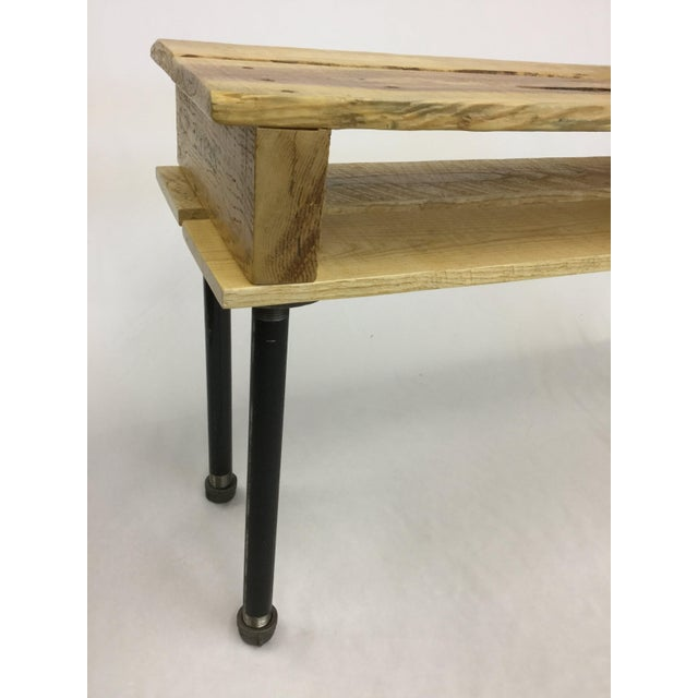 Brown Pallet Wood Hand Finished Narrow Hallway Bench For Sale - Image 8 of 12