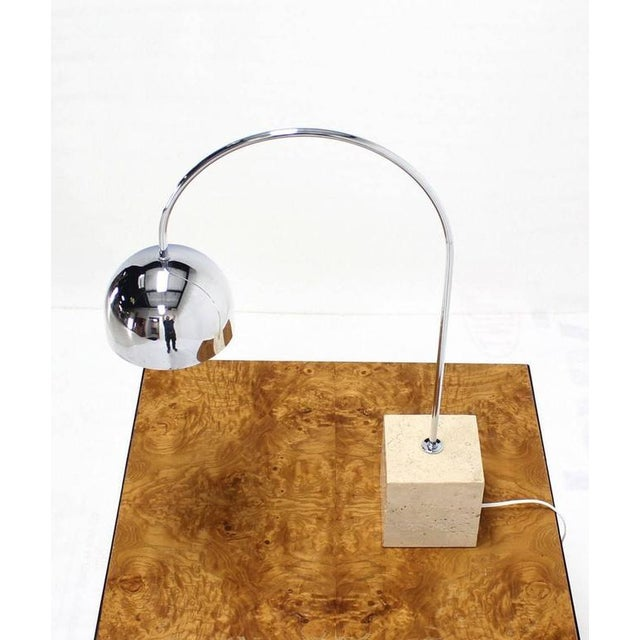 Early 20th Century Marble Cube Base Chrome Table Lamp Arco For Sale - Image 5 of 7