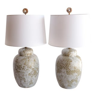 Froth Glazed Table Lamps, a Pair For Sale