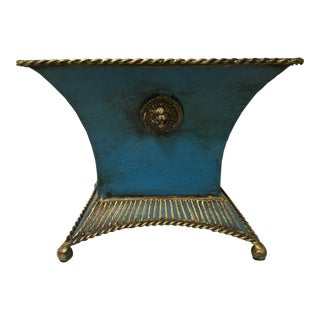 Blue and Gold Metal Square Footed Cache Pot For Sale