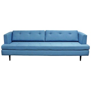 1960s Mid-Century Modern Tufted Blue Sofa For Sale