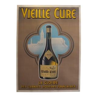 1930s Original Vintage French Alcohol Poster - Liqueur De La Vieille Cure - Wilquin For Sale