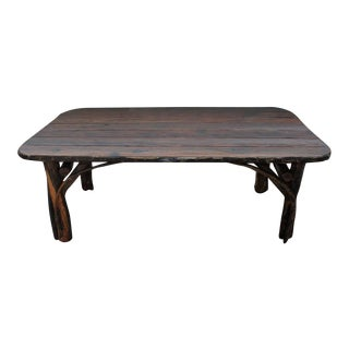 Rustic Handmade Hickory Table For Sale