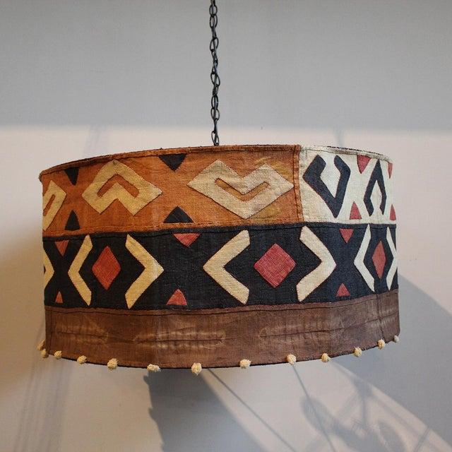 African Kuba Cloth Drum Shape Chandelier For Sale - Image 3 of 5