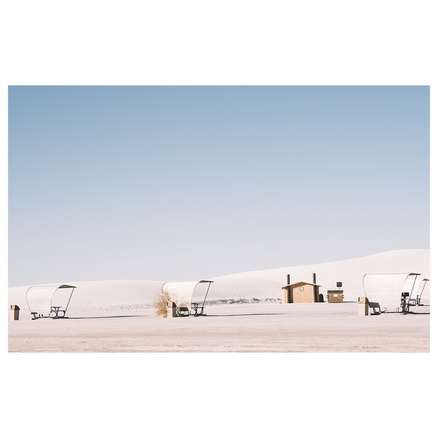 Original photograph of the iconic picnic benches inside White Sands National Monument in New Mexico. Lightjet Type C Print...