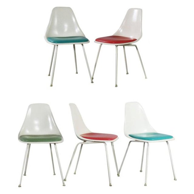 Burke Fiberglass #103 Shell Chairs With Padded Seats Set of 5 Mid Century Modern For Sale - Image 13 of 13