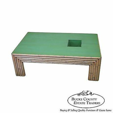 Vintage Art Deco Rattan Bamboo Coffee Table For Sale - Image 13 of 13