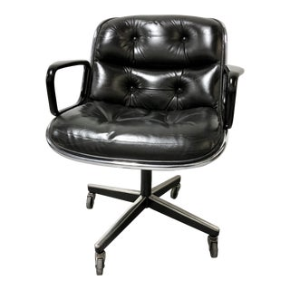 Charles Pollock Office Chair for Knoll in Black Leather For Sale