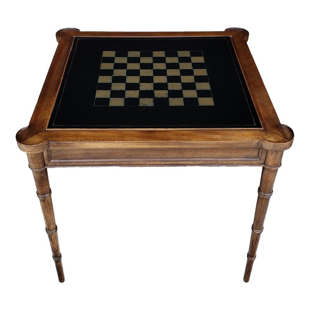"""1980s Hollywood Regency Drexel """"Et Cetera"""" Game Table Leather Top Game Table For Sale"""