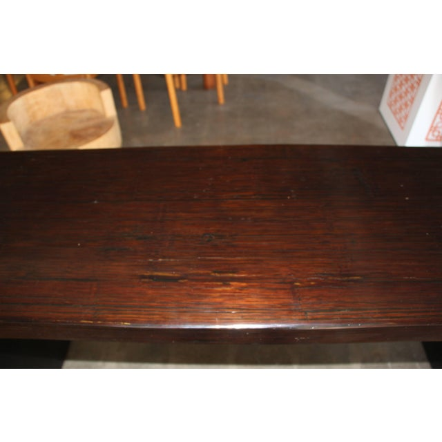 Asian Bamboo Veneered Grained Brown Console For Sale - Image 3 of 10