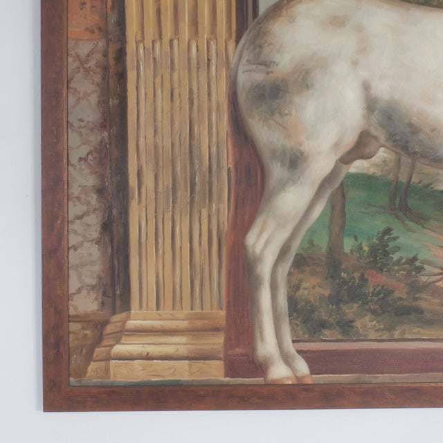 Mid Century Oil Painting on Canvas of a White Horse For Sale - Image 4 of 7