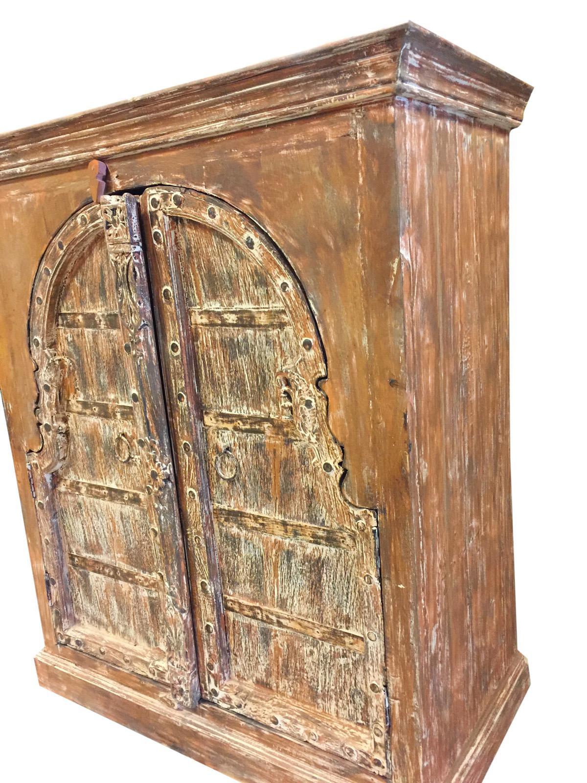 Antique Haveli Decor Rustic Red Wooden Double Door Chest Sideboard