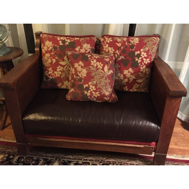 Mission Style Dark Oak Loveseat - Image 6 of 10