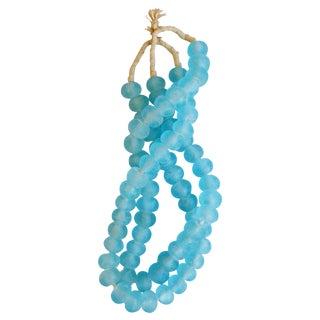 Mediterranean Jumbo Azure Blue Glass Beads - a Pair