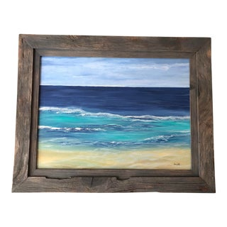 """Final Price! Nancy Smith """"State of Serenity"""" Abstract Acrylic Seascape Painting For Sale"""