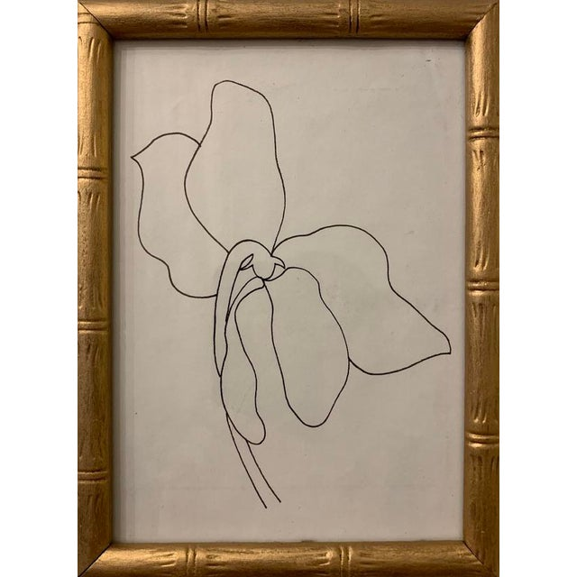Abstract Mid-Century Modern Small Original Flower Drawing in Gold Frame For Sale - Image 3 of 3